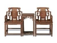 清 柞榛木太师椅 -  - 明清古典家具 - 2007春拍瓷器雅玩家具拍卖 -收藏网
