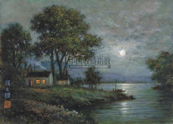 湖畔月色 布面油画 - 139881 - 当代与唯美 中国油画雕塑 - 2008春季大型艺术品拍卖会 -收藏网