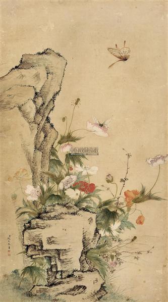 蝶舞花丛 立轴 设色纸本 -  - 中国书画 - 2011秋季拍卖会 -收藏网