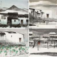 四季山水 镜框 设色纸本 - 119130 - 中国书画 - 2011秋季艺术品拍卖会 -收藏网