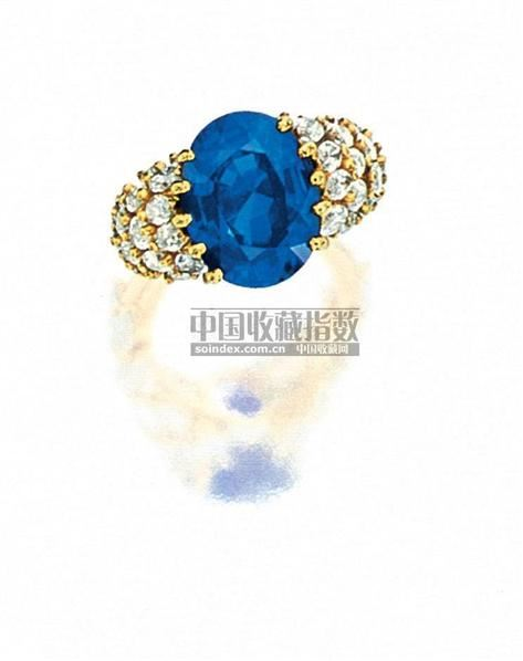 """天然""""缅甸""""蓝宝石配钻石戒指,CARTIER -  - 珠宝翡翠 - 2010年春季拍卖会 -收藏网"""