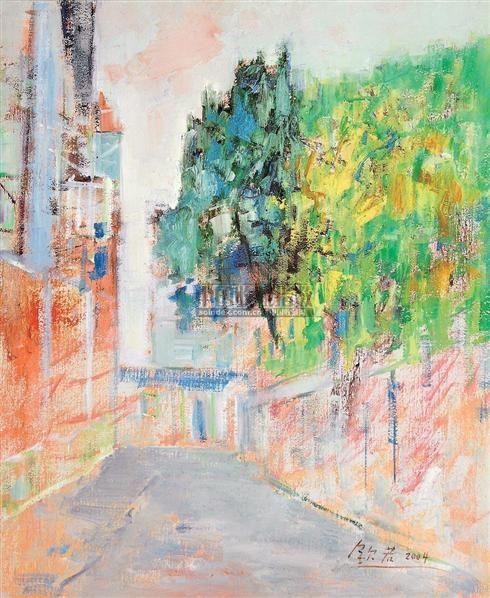 街道的福光 布面油画 - 140873 - 油画 - 2007年油画拍卖会 -收藏网