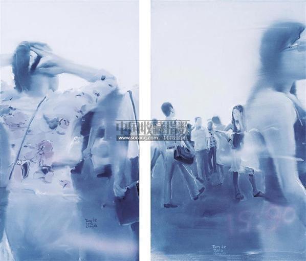 《美丽美丽NO.06》《美丽美丽NO.10》(两件一组) 布面 丙烯 - 20363 - 中国现当代油画雕塑专场 - 2010年秋季艺术品拍卖会 -收藏网