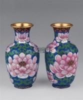 铜胎掐丝珐琅瓶 (一对) -  - 瓷器玉器工艺品 - 2005青岛夏季艺术品拍卖会 -收藏网