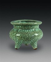 哥窑三足炉 -  - 中国瓷杂 - 2010迎春艺术品拍卖会 -中国收藏网