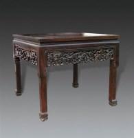 清   红木灵芝纹独板八仙桌 -  - 明清古典家具专场 - 明清古典家具专场拍卖会 -中国收藏网