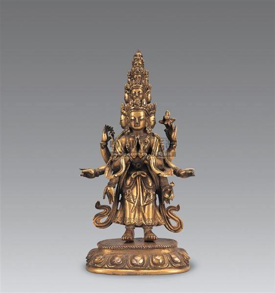 清乾隆 铜鎏金十一面观音像 -  - 妙音天籁-佛教艺术品 - 2006年秋(十周年)拍卖会 -收藏网