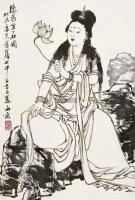 捻花坐石图 立轴 设色纸本 - 5525 - 长安之风 - 首届艺术品拍卖会 -中国收藏网