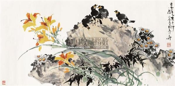 花鸟 镜片 纸本 - 38099 - 保真作品专题 - 2011春季书画拍卖会 -收藏网