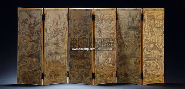 象牙雕山水人物故事屏风--寄闲楼珍藏—中国古代象牙