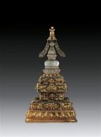 铜鎏金嵌宝石水晶舍利塔 -  - 卧松斋藏传佛教珍品专题 - 2007春季拍卖会 -收藏网