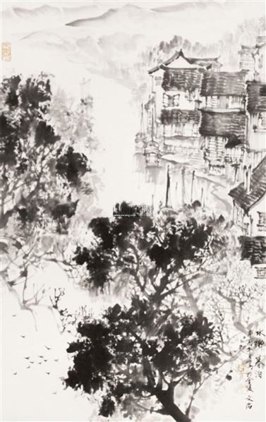 水乡暮泊 立轴 纸本 - 5002 - 中国书画专场 - 2012年迎春中国书画精品拍卖会 -收藏网