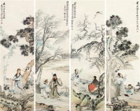 山水人物 四屏 设色纸本 - 16894 - 中国书画 - 2011首场艺术品秋季拍卖会 -中国收藏网