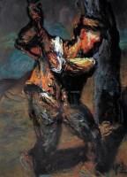 砍柴 纸板  油画 - 罗中立 - 油画 版画 - 2006秋季艺术品拍卖会 -收藏网