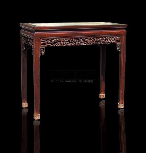 红木石面半桌 - - 古典家具专场 - 北京嘉缘四季艺术品拍卖会 -中国