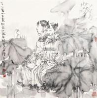 《花中少女》 镜框 纸本 - 谭崇正 - 中国近当代名家书画专场 - 2011首届秋季拍卖会 -收藏网