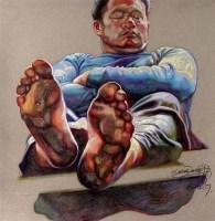 赵晓东 2006年作 喝麻了 色粉 - 157855 - 四川画派(油画) - 2006秋季拍卖会 -收藏网