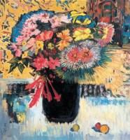 瓶花 布面 油画 - 王路 - 中国现当代艺术 - 2007迎春拍卖会 -收藏网