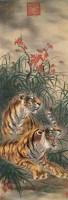 双虎 立轴 设色绢本 - 郎世宁 - 书画杂件 - 2007迎春文物艺术品拍卖会 -中国收藏网