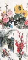 花鸟 四屏 设色纸本 -  - 中国书画 - 2010秋季兰州文物艺术品拍卖会 -收藏网