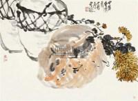 菊蟹图 立轴 设色纸本 - 王个簃 - 中国书画 - 2010秋季艺术品拍卖会 -中国收藏网