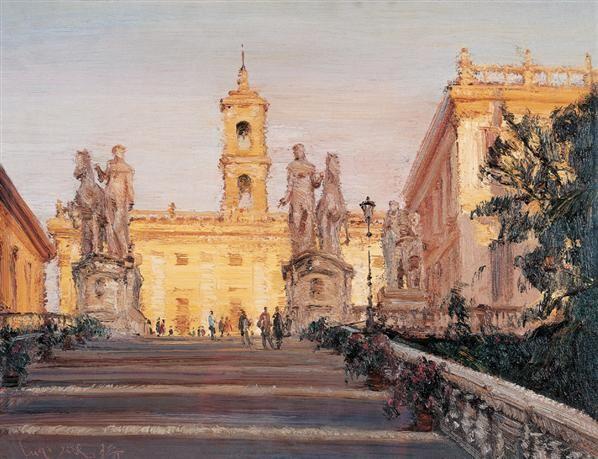 陆琦 夕照中的罗马古建筑 布面 油画
