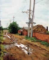 雨后的乡村 布面  油画 -  - 油画 版画 - 2006秋季艺术品拍卖会 -收藏网