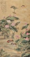 """荷塘鸟语 立轴 设色纸本 - 116800 - 中国书画 - 2011春季""""金融与收藏""""拍卖会 -收藏网"""