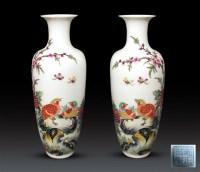 珐琅彩安居乐业纹薄胎瓶(一对) -  - 瓷杂专场 - 2008春季精品拍卖会 -收藏网