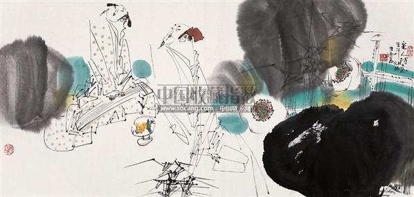宋人诗意图 镜心 设色纸本 - 5525 - 书画专场(上) - 2005秋季书画专场拍卖会 -收藏网