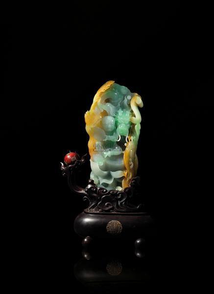 翡翠三彩龙生太子摆件 -  - 翡翠、名石、文玩杂件、紫砂、书画 - 2011年秋季艺术品拍卖会 -中国收藏网