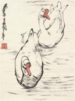 兰亭鹅戏 镜片 设色纸本 - 7693 - 中国书画(一) - 2011年秋季艺术品拍卖会 -中国收藏网