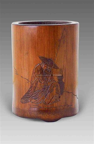 方絜款竹雕渔翁笔筒 -  - 艺术珍玩 - 十周年庆典拍卖会 -收藏网