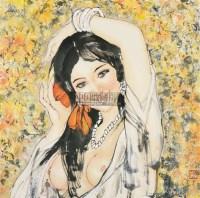 少女 镜心 设色纸本 - 梁岩 - 中国现当代书画 - 2008秋季艺术品拍卖会 -收藏网