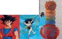 女超人与悟空(三联作) 布面 油画 - 杨茂林 - 油画雕塑 - 2008年春季拍卖会 -收藏网