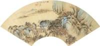 秋楼远眺 扇面 金笺设色 - 118947 - 中国书画(一) - 2011春季拍卖会 -中国收藏网