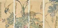花鸟 (四帧) 镜片 纸本 -  - 古今书画专场 - 夏季艺术品拍卖会(第六期) -中国收藏网
