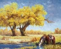 王阿敏 金色胡杨 布面 油画 - 153386 - 油画 - 2006年金秋珍品拍卖会 -收藏网