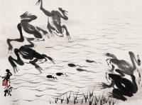 齐白石 蛙鸣图 镜心 设色纸本 - 116087 - 中国书画(一) - 2006秋季艺术品拍卖会 -收藏网