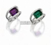 """天然""""巴西""""亚历山大变色石配钻石戒指 -  - 珠宝翡翠 - 2010年春季拍卖会 -收藏网"""