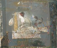 雨夜吟衣图 布上 油彩 - 冷宏 - 西洋美术 - 2005秋季艺术品拍卖会 -中国收藏网