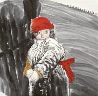 小卓玛 镜心 设色纸本 - 5448 - 长安之风 - 首届艺术品拍卖会 -中国收藏网