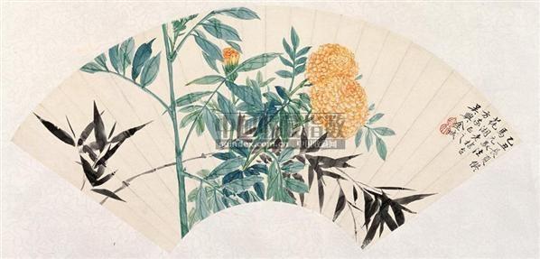 金城 1925年作 花卉扇面 镜心 设色纸本 - 20538 - 中国书画(二) - 2006秋季艺术品拍卖会 -收藏网