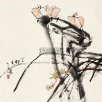 兰石栖鸟图 立轴 设色纸本 - 118346 - 中国书画二 - 2011年秋季拍卖会 -收藏网