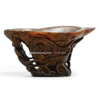 A CARVED RHINOCEROS HORN'CHILONG'LIBATION CUP -  - 中国瓷器工艺品 - 2011春季拍卖会 -收藏网