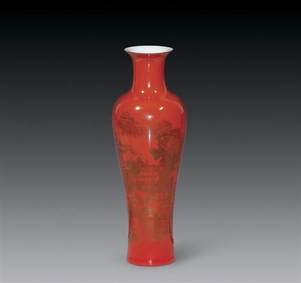 清道光 珊瑚釉描金观音瓶 -  - 瓷杂专场 - 2006年秋季艺术品拍卖会 -收藏网