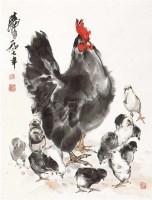 群鸡图 立轴 水墨纸本 - 7693 - 艺海撷珍—书画艺术品专场 - 2011年秋季拍卖会 -收藏网
