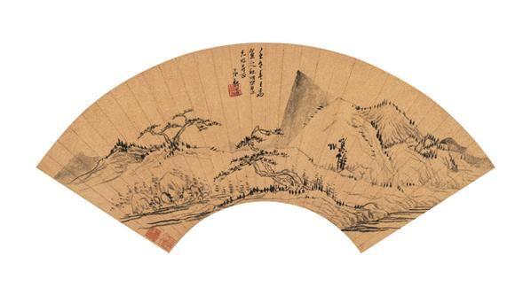壬午(1642年)作 苍松青溪图 扇面 水墨金笺 - 4067 - 中国古代书画