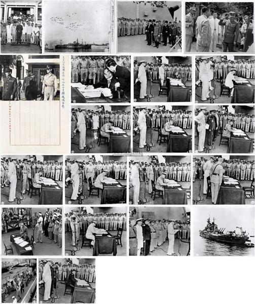 珍藏同盟国代表于密苏里舰接受日本投降照片一