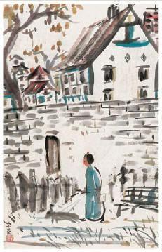 洋房与女人 镜心 设色纸本 - 140928 - 中国书画(近现代) - 2007春季艺术品拍卖会 -收藏网
